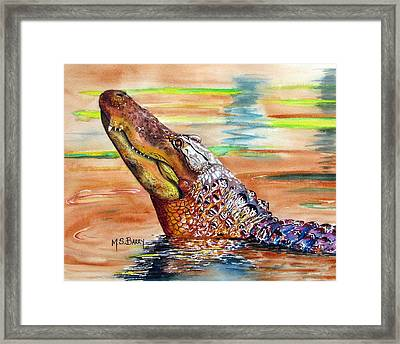 Sunset Gator Framed Print by Maria Barry