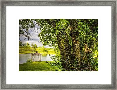 Sunset Gazebo Framed Print by Debra and Dave Vanderlaan