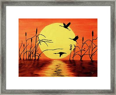 Framed Print featuring the painting Sunset Geese by Teresa Wing