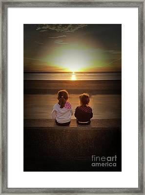 Sunset Girls Framed Print by Lynn Bolt