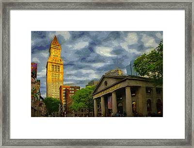 Sunset Gleam Of Custom House Tower Framed Print by Jeff Kolker
