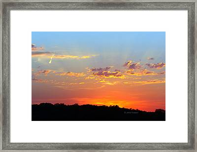 Framed Print featuring the digital art Sunset Glory Orange Blue by Jana Russon
