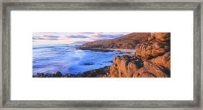 Sunset Glow Along Pacific Coast Framed Print