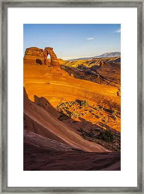 Sunset Glow On Delicate Arch Framed Print
