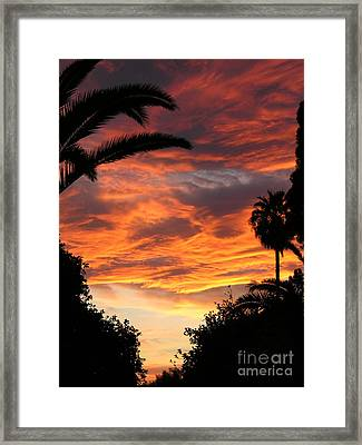 Sunset God's Fingers In Clouds  Framed Print by Diane Greco-Lesser