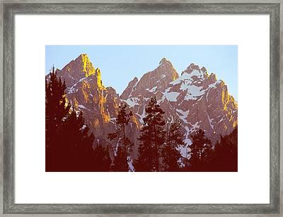Sunset Gold Tetons Nat Framed Print by Alan Lenk
