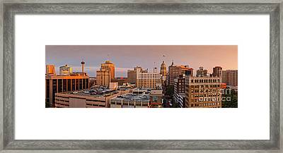 Sunset Golden Hour Light Panorama Of San Antonio Skyline - Bexar County South Texas Framed Print