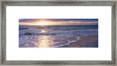 Sunset, Gulf Of Mexico, Florida, Usa Framed Print