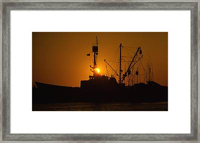 Framed Print featuring the photograph Sunset Harbor by Marie Leslie