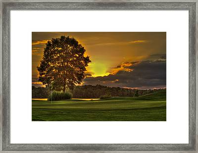 Sunset Hole In One The Landing Framed Print by Reid Callaway
