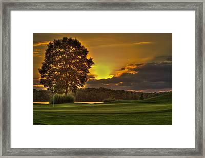 Sunset Hole In One The Landing Framed Print