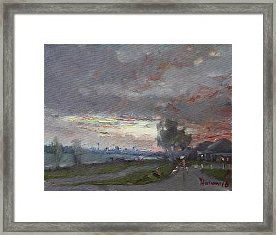 Sunset In A Rainy Day Framed Print by Ylli Haruni