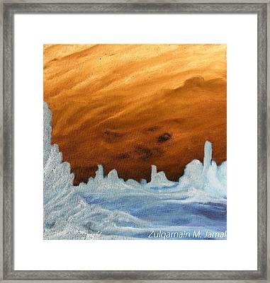 Sunset In An Ice Land Framed Print by Zulqarnain Jamal