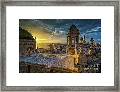 Framed Print featuring the photograph Sunset In Cadiz Cathedral View From Levante Tower Cadiz Spain by Pablo Avanzini
