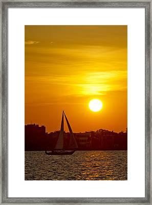 Sunset In Charleston South Carolina Sailboat Framed Print