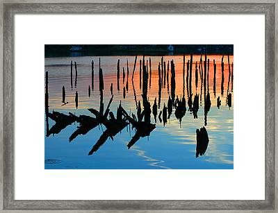 Sunset In Colonial Beach Virginia Framed Print by Clayton Bruster