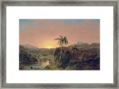 Sunset In Equador Framed Print by Frederic Edwin Church
