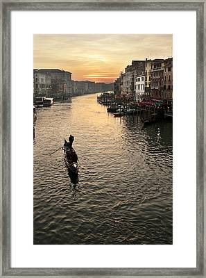 Sunset In Grand Canal Framed Print