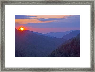 Sunset In Great Smoky Mountain National Park Tennessee Framed Print