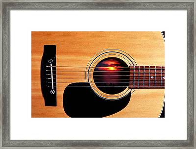 Sunset In Guitar Framed Print by Garry Gay