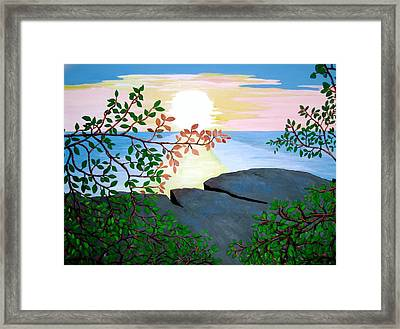 Framed Print featuring the painting Sunset In Jamaica by Stephanie Moore