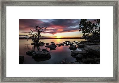 Sunset In Merritt Island - Florida, United States - Seascape Photography Framed Print by Giuseppe Milo