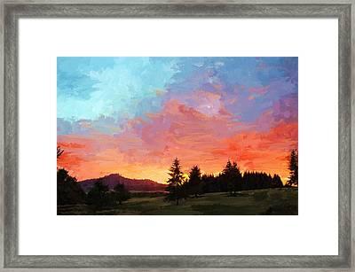 Sunset In Oregon Framed Print