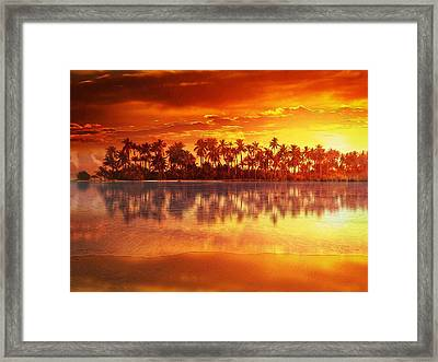 Framed Print featuring the mixed media Sunset In Paradise by Gabriella Weninger - David