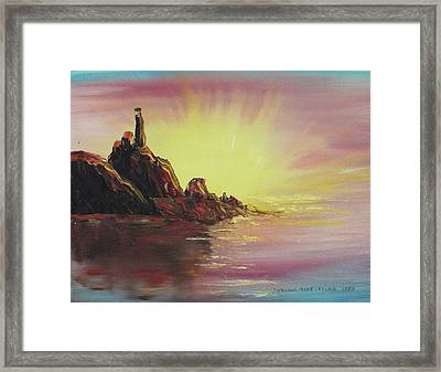 Sunset In Rocks Framed Print by Suzanne  Marie Leclair