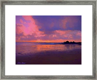 Sunset In Rotheneuf Framed Print