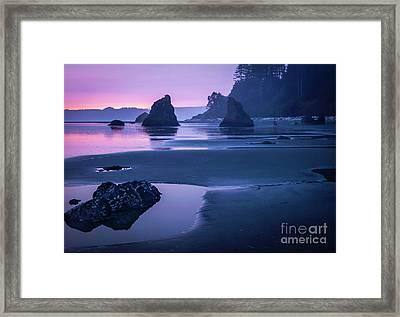 Sunset In Ruby Beach Framed Print