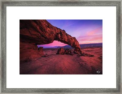 Sunset In Stone Framed Print by Peter Coskun