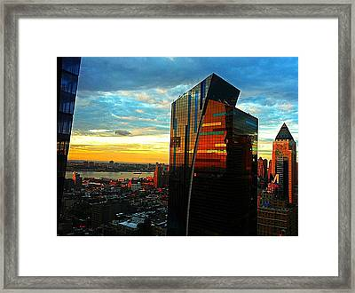 Sunset In The City Framed Print by Lisa  Esposito