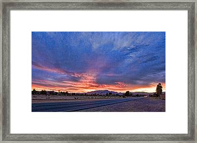 Sunset In The Desert Framed Print by Ches Black