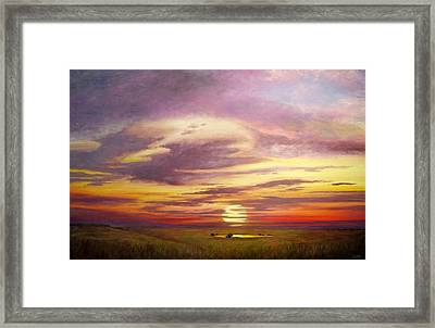 Sunset In The Flint Hills Framed Print