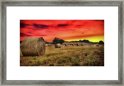 Sunset In The Hay Framed Print by Martin Newman