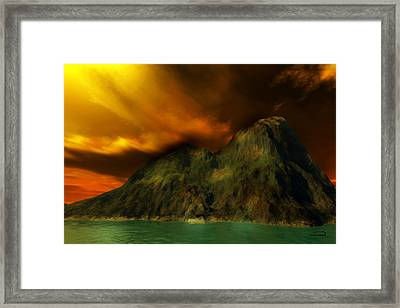Sunset In The Island Framed Print by Emma Alvarez