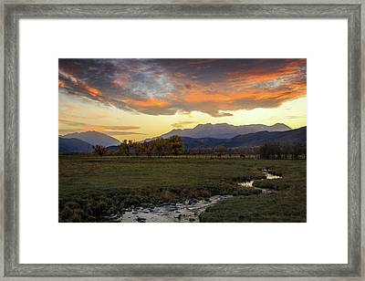Framed Print featuring the photograph Sunset In The North Fields, Heber Valley, Utah. by Johnny Adolphson