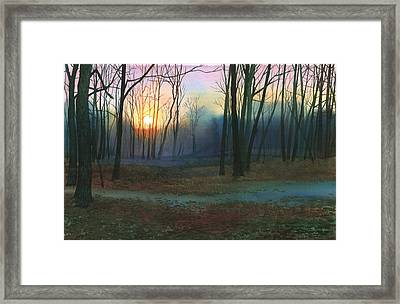 Framed Print featuring the painting Sunset In The Park by Sergey Zhiboedov