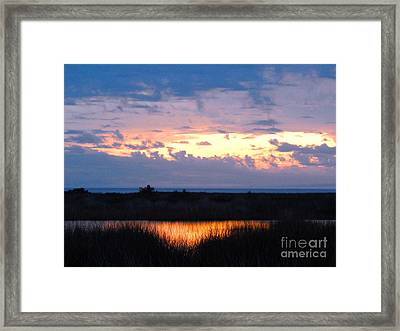 Sunset In The River Sea Beyond Framed Print by Expressionistart studio Priscilla Batzell