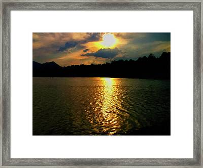 Framed Print featuring the digital art Sunset In The Smoky Mountains 1 by Chris Flees
