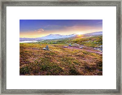 Framed Print featuring the photograph Sunset In Tundra by Dmytro Korol