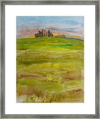 Sunset In Tuscany Framed Print by Janet Butler