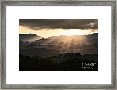 Sunset In Val D'orcia Framed Print by Luigi Morbidelli