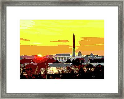 Sunset In Washington Dc Framed Print by Charles Shoup