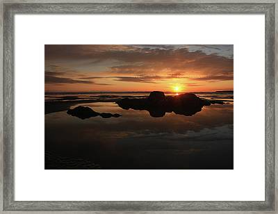 Sunset In Yachats Oregon Framed Print