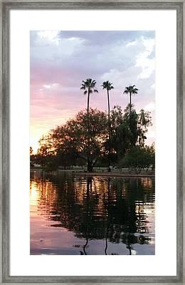 Sunset Island In Chaparral Lake Vertical Framed Print