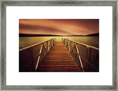 Sunset Dock Framed Print by Jessica Jenney