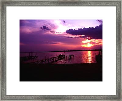 Sunset Lake 2 Framed Print by Evelyn Patrick