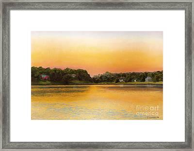 Sunset Lake Framed Print by Joan Swanson